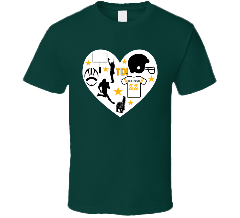 Heart Mashup Aaron Ripkowski Green Bay Football Team Fan T Shirt