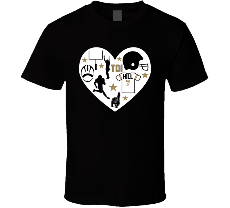 Taysom Hill # 7 New Orleans Football Icon Heart Mashup T Shirt