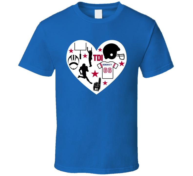 Adam Bisnowaty # 66 New York G Football Icon Heart Mashup T Shirt