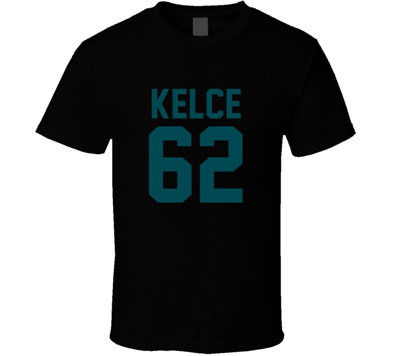 Jason Kelce # 62 Jersey Back Philadelphia Football Team Fan For Black T Shirt