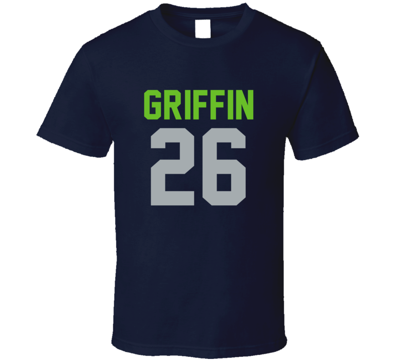 Shaquill Griffin # 26 Jersey Back Seattle Football Team Fan For Navy T Shirt