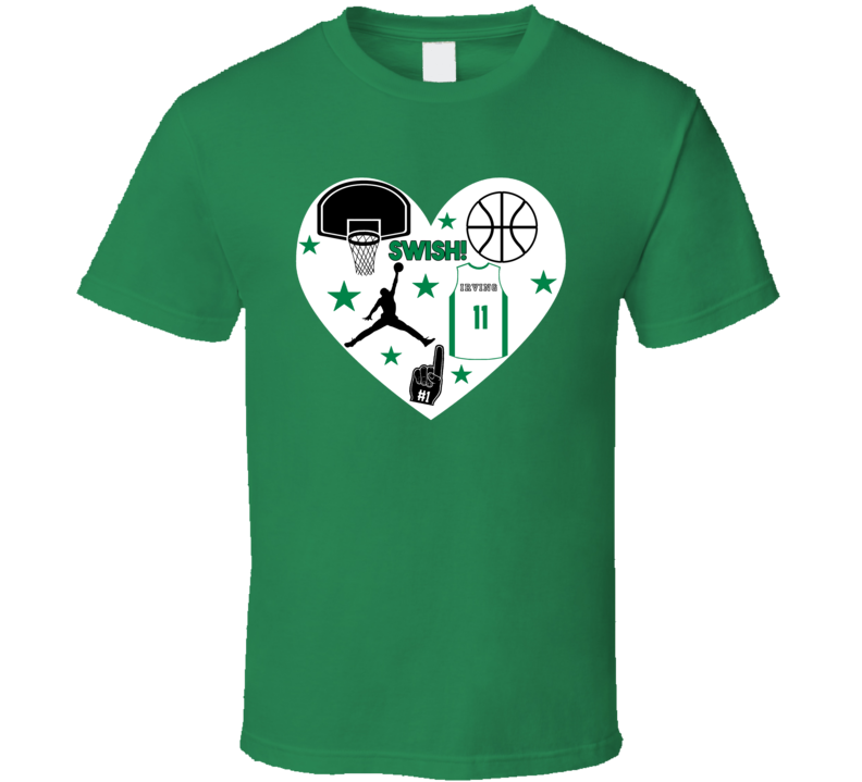 Kyrie Irving Boston Basketball Icon Heart Mashup T Shirt