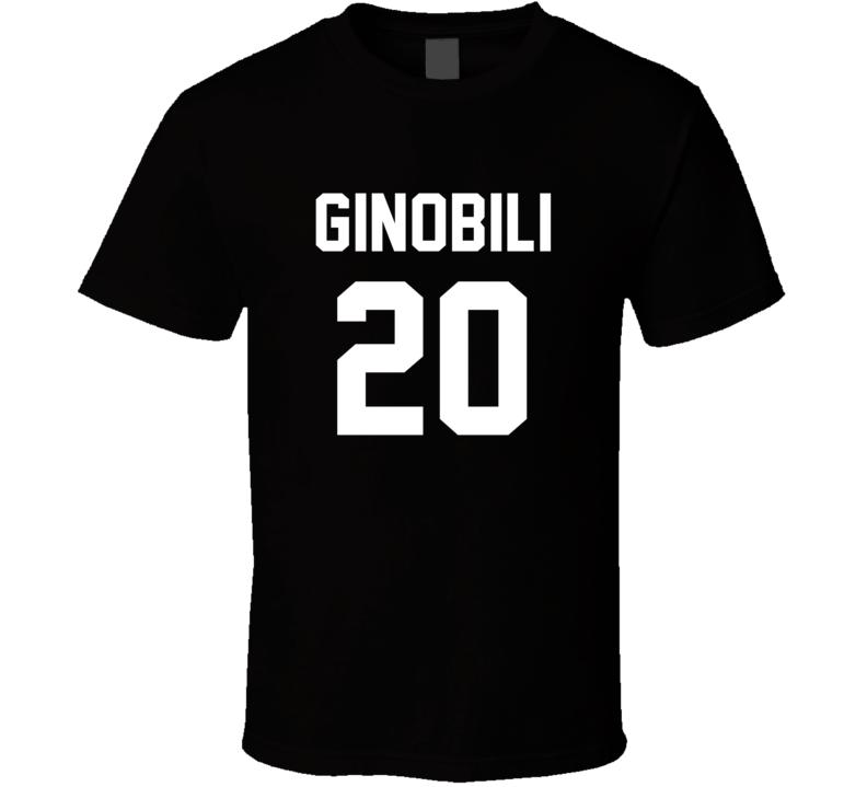 Manu Ginobili Jersey Back San Antonio Basketball Team Fan For Black T Shirt