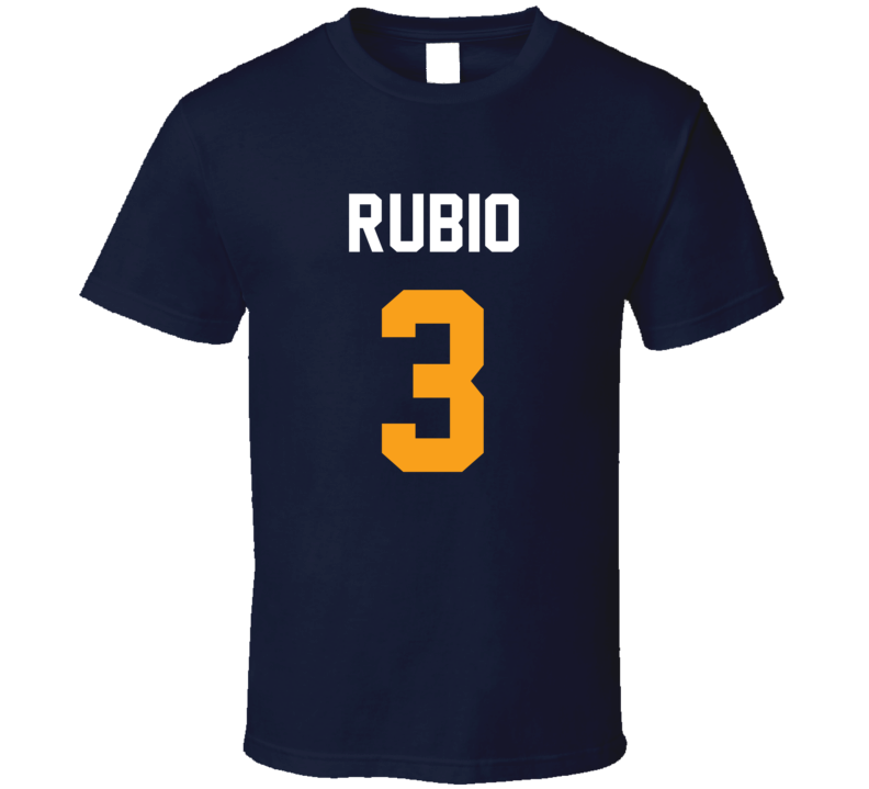 Ricky Rubio Jersey Back Utah Basketball Team Fan For Navy T Shirt