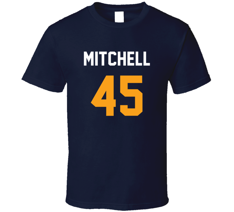 Donovan Mitchell Jersey Back Utah Basketball Team Fan For Navy T Shirt