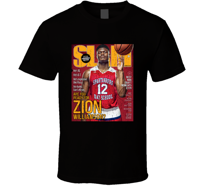 Slam Magazine Issue 210 Zion Williamson Popular Basketball Magazine Grunge Look T Shirt
