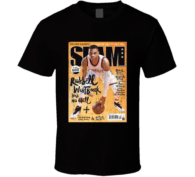 Slam Magazine Issue 196 Russell Westbrook Popular Basketball Magazine Grunge Look T Shirt