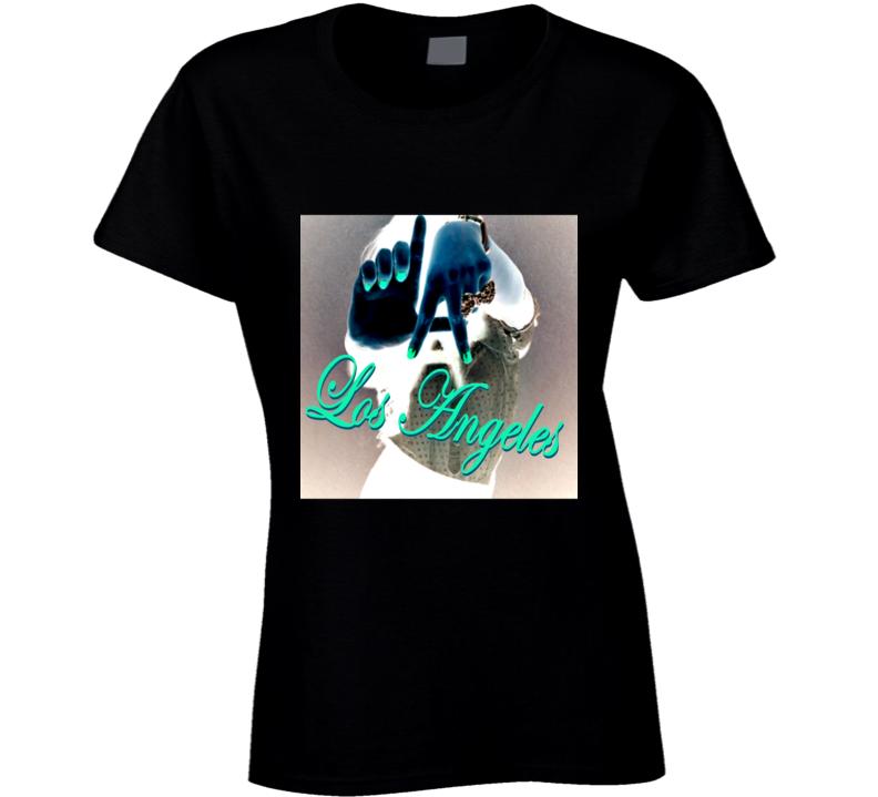 LA Los Angeles California U.S. University Girl Hand Sign T Shirt