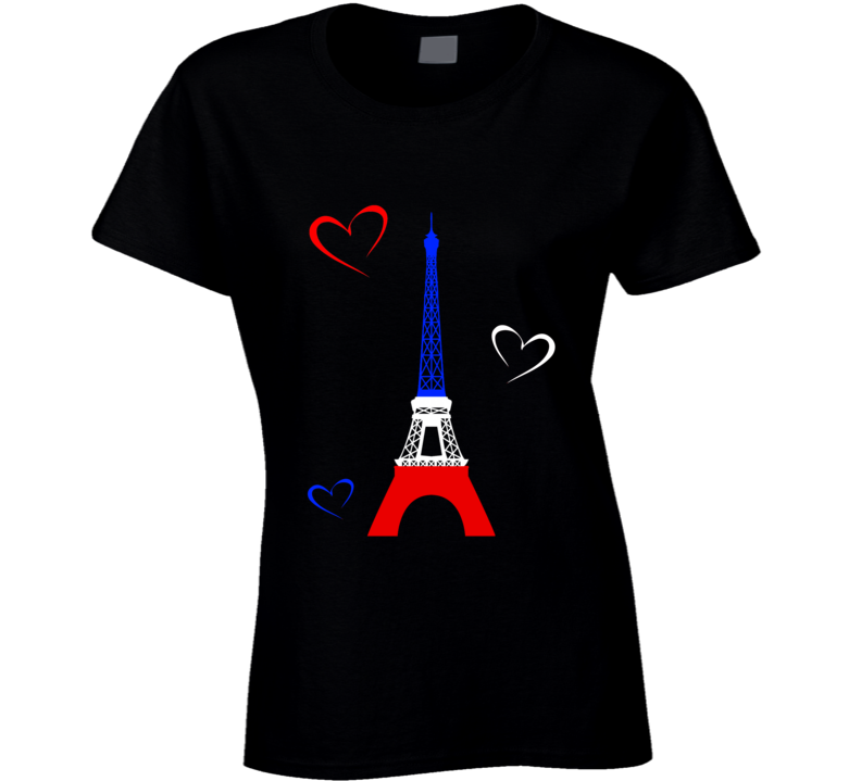 Love Pray For Paris White Red and Blue Heart Eiffel Tower Peace T Shirt