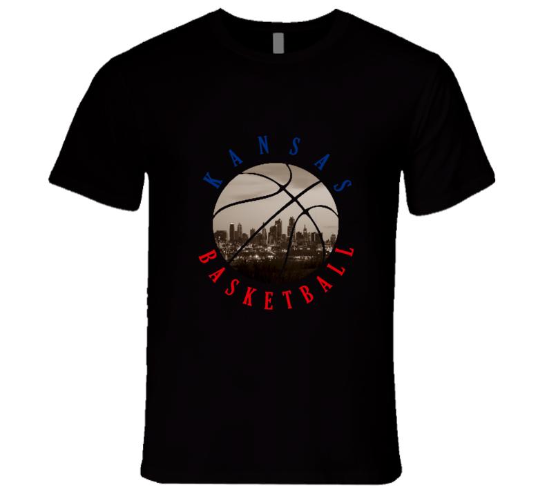 Kansas College KU City Skyline Men's American Basketball Athletics T Shirt