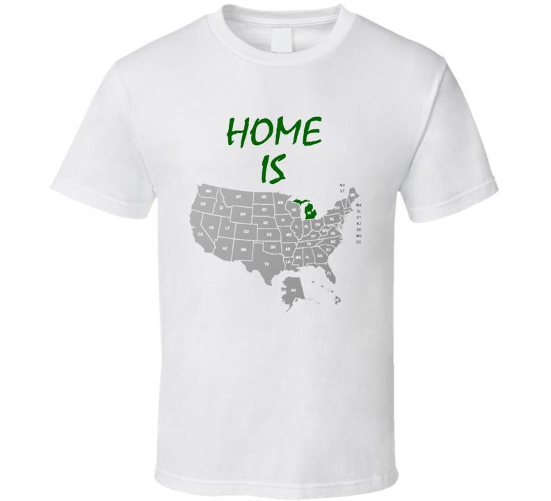 Home Is Massachusetts Labeled US Map Michigan State Basketball Football Fan T Shirt