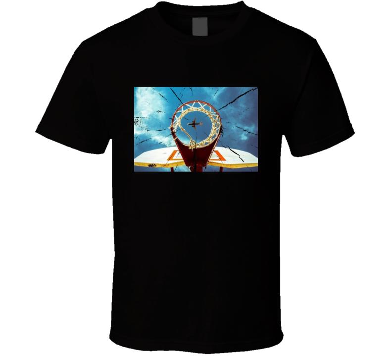 Retro Basketball Net Sky High Airplane Cool Graphic T Shirt