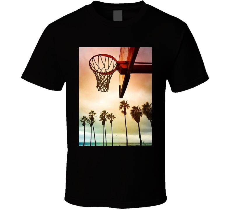 Palm Tree Basketball Hoop Cool Beach T Shirt