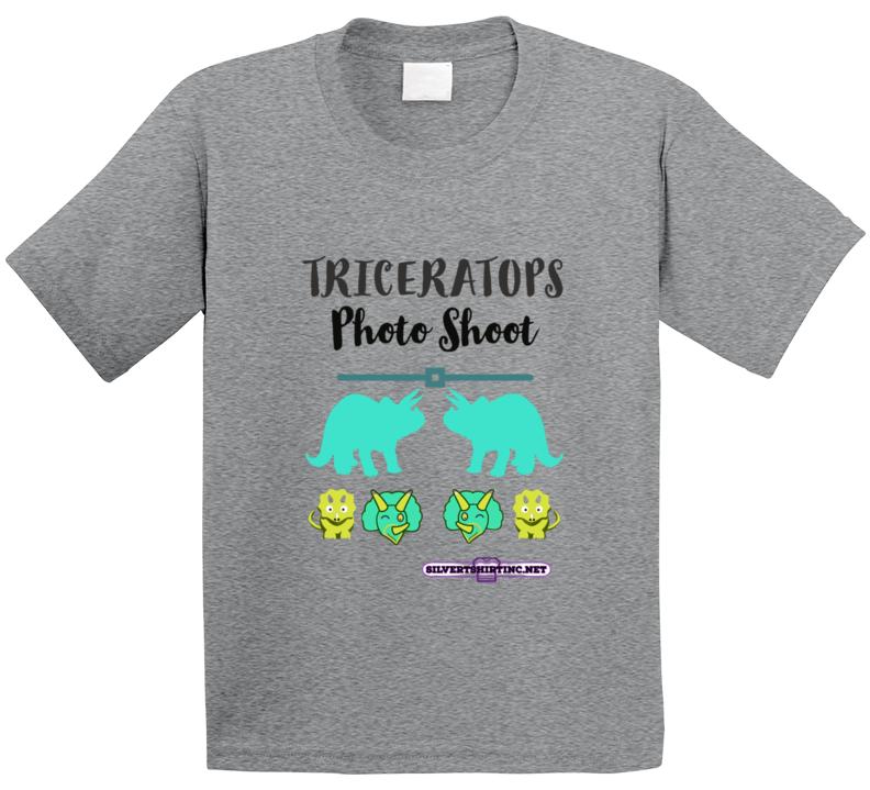 Triceratops Dinosaurs Posing For Photoshoot Fun Cartoon T Shirt