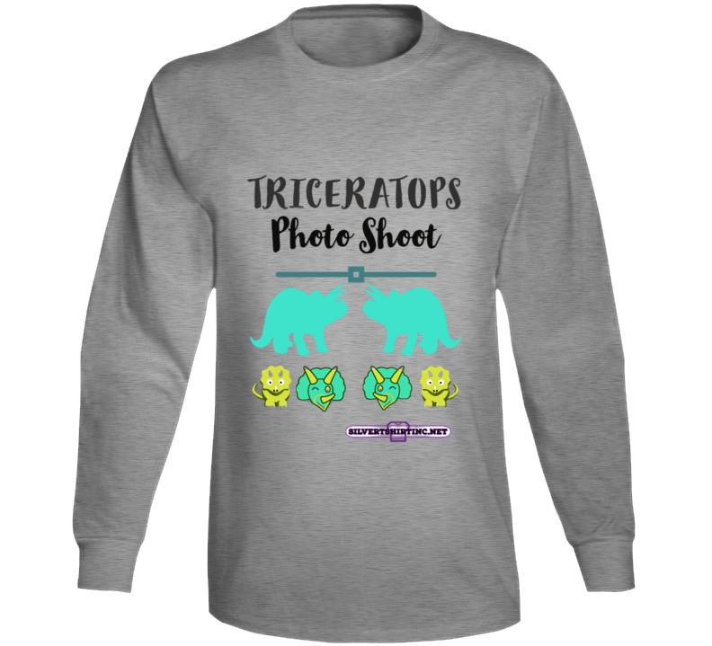 Triceratops Dinosaur Fun Cartoon Photoshoot Long Sleeve