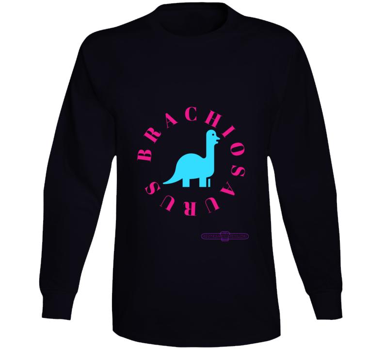 Brachiosaurus Dinosaur In Teal Tall Like A Giraffe T-Shirt