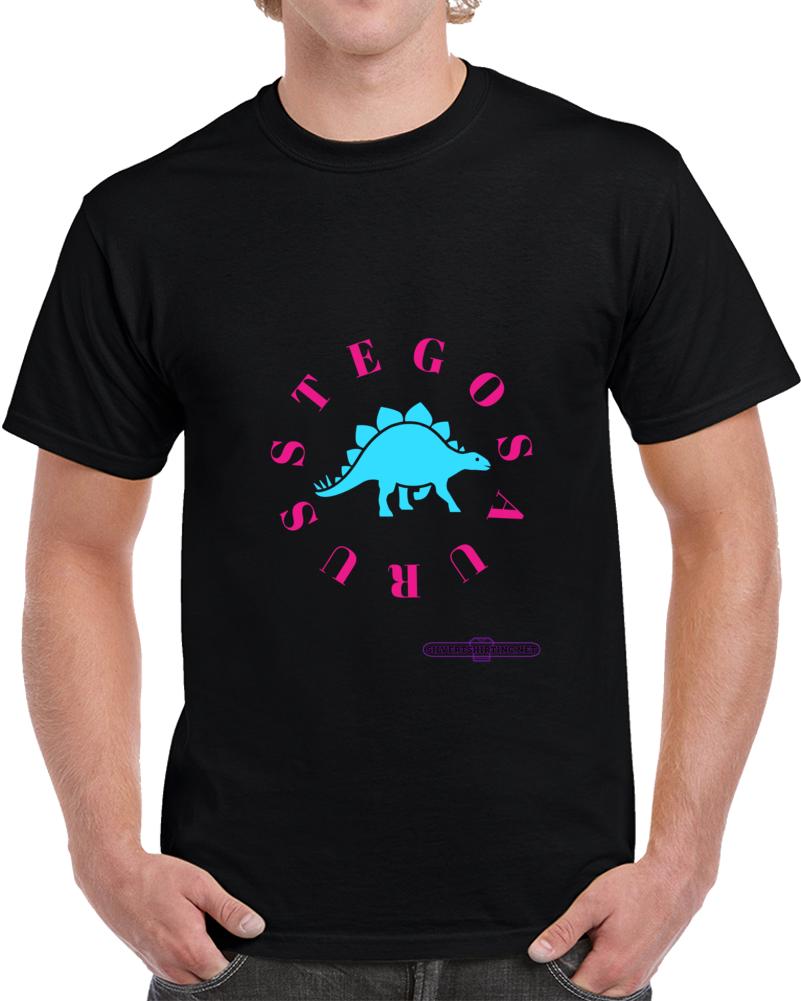 Stegosaurus Dinosaur In Teal My Plates Keep Me Warm T-shirt