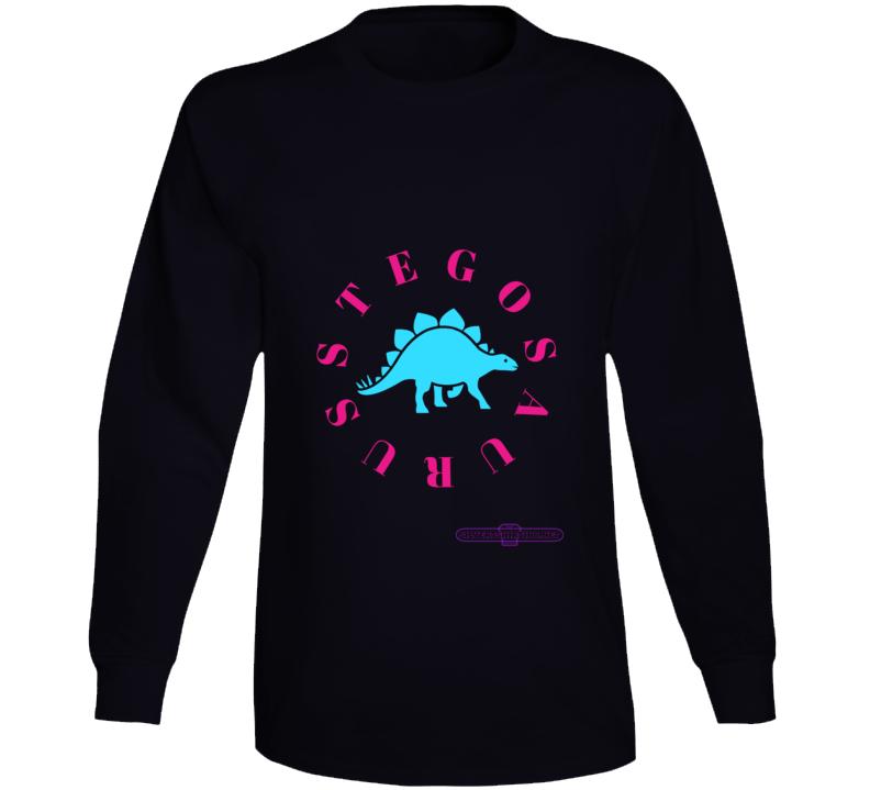 Stegosaurus Dinosaur In Teal My Brain Is Small T-shirt