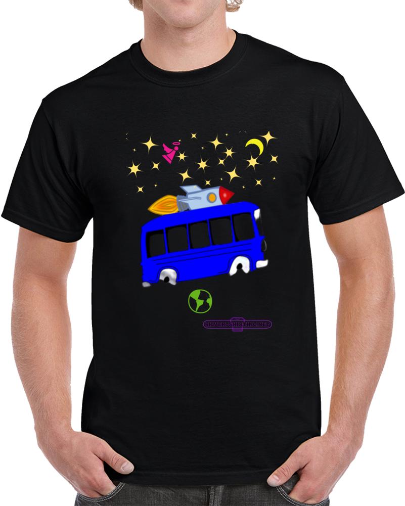 Outer Space Rocket Bus Imagination T Shirt