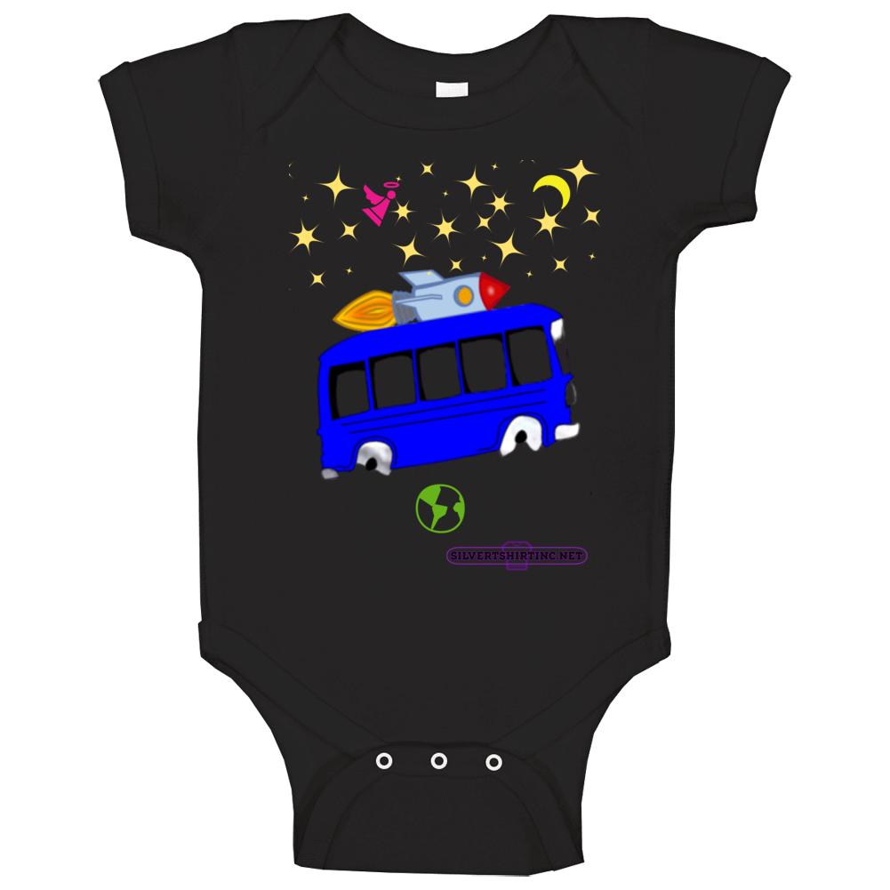 Outer Space Rocket Bus Fun Cartoon Baby One Piece