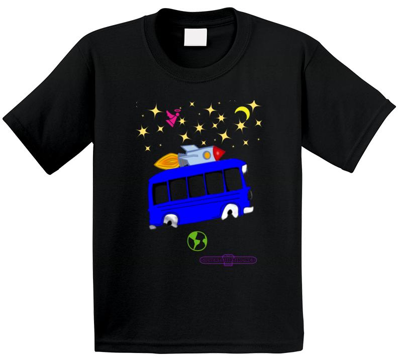 Outer Space Rocket Bus Dream Flight Fun Cartoon T Shirt