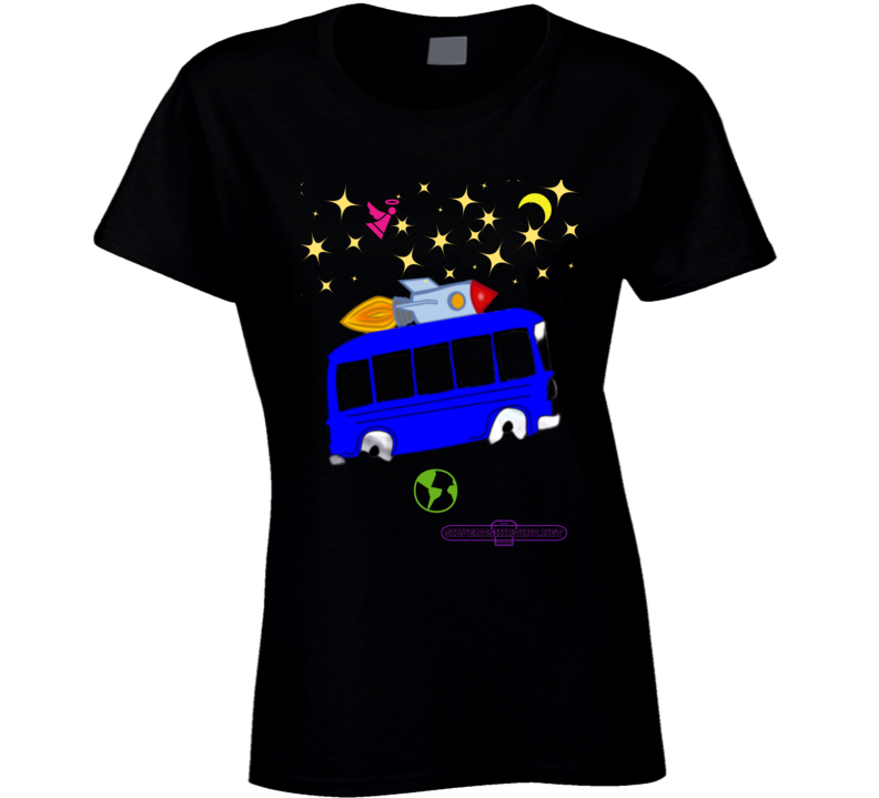 Outer Space Rocket Bus Designed For Black Fun Cartoon  T Shirt