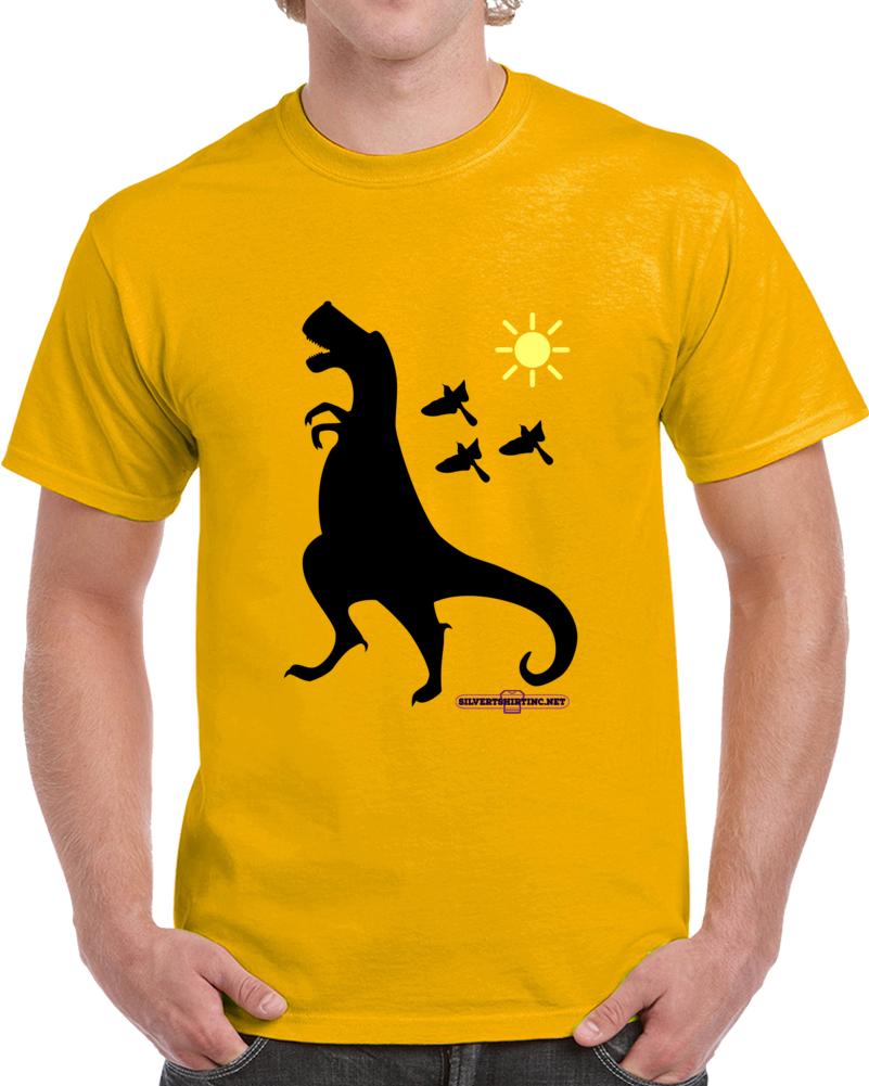 Tyrannosaurus Rex Dinosaur In Black Up To No Good  T Shirt