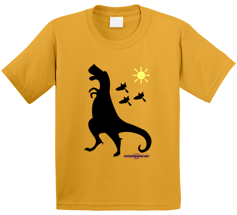 Tyrannasaurus Rex Dinosaur In Black Up To No Good Fun Cartoon T Shirt