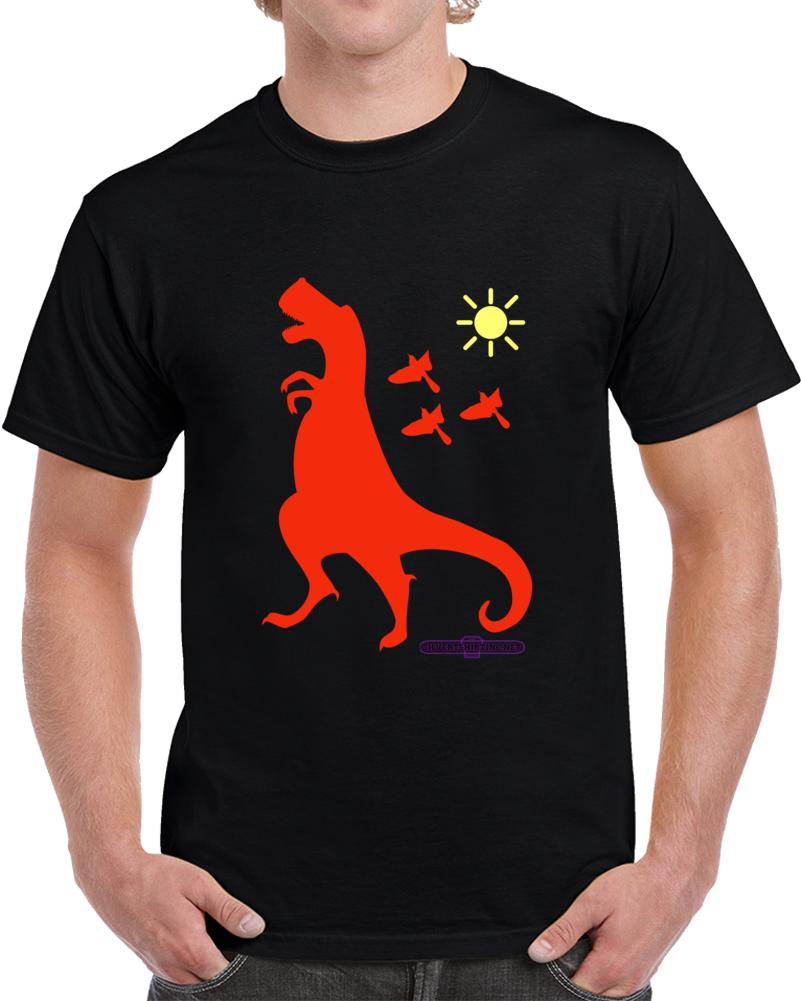 Tyrannasaurus Rex Rust Dinosaur Up To No Good  Black  T Shirt
