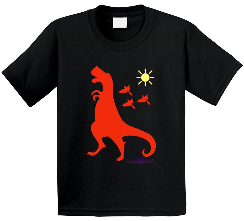 Tyrannosaurus Rex Rust Dinosaur Sneaking Around Black  T Shirt