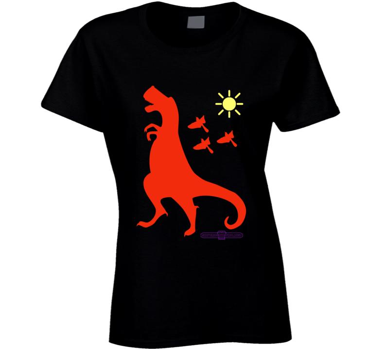 Tyrannosaurus Rex Rust Dinosaur Up To No Good Fun Cartoon Black T Shirt