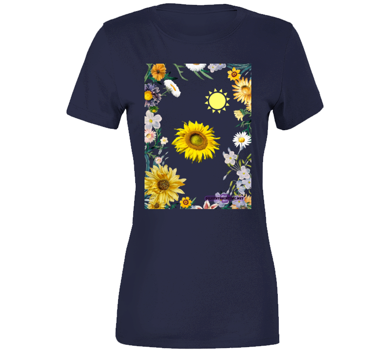 Sunflower Soaking Up Sunlight In A Field Of Flowers Ladies T Shirt