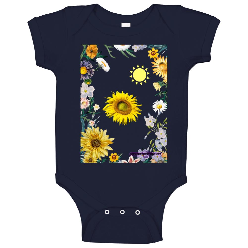 Sunflower Soaking Up Sunlight In A Field Of Flowers Baby One Piece