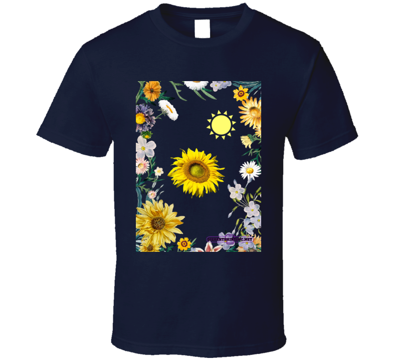 Sunflower Soaking Up Sunlight In A Field Of Flowers T Shirt