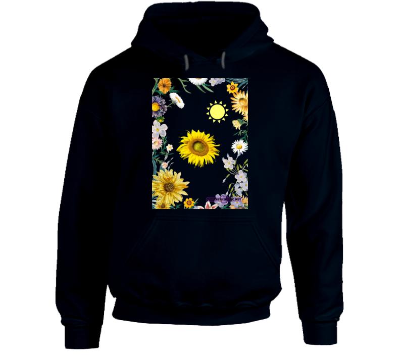Sunflower Soaking Up Sunlight In A Field Of Flowers Hoodie