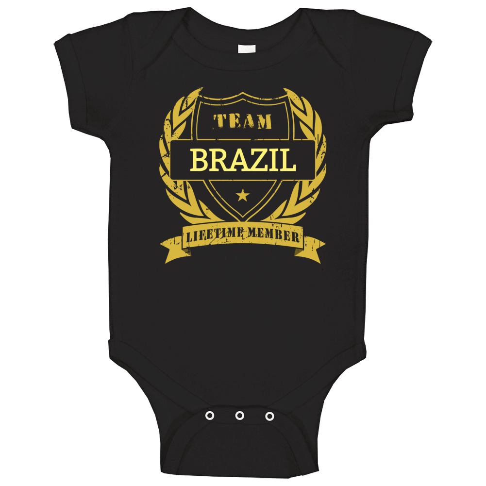Brazil National Soccer Team Lifetime Member Baby One Piece