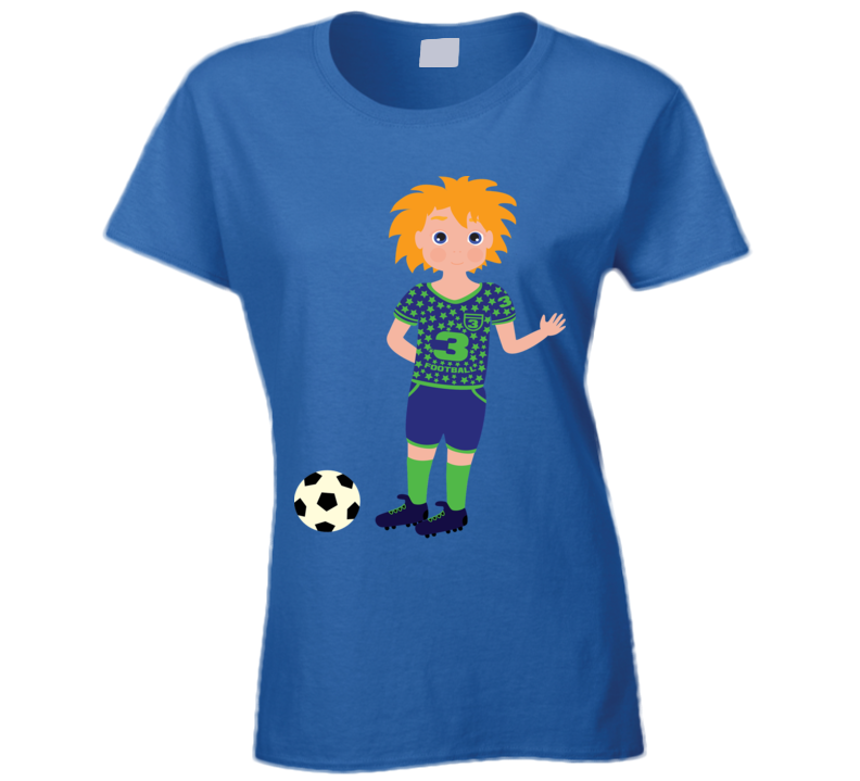 Boy Soccer Player Ladies T Shirt