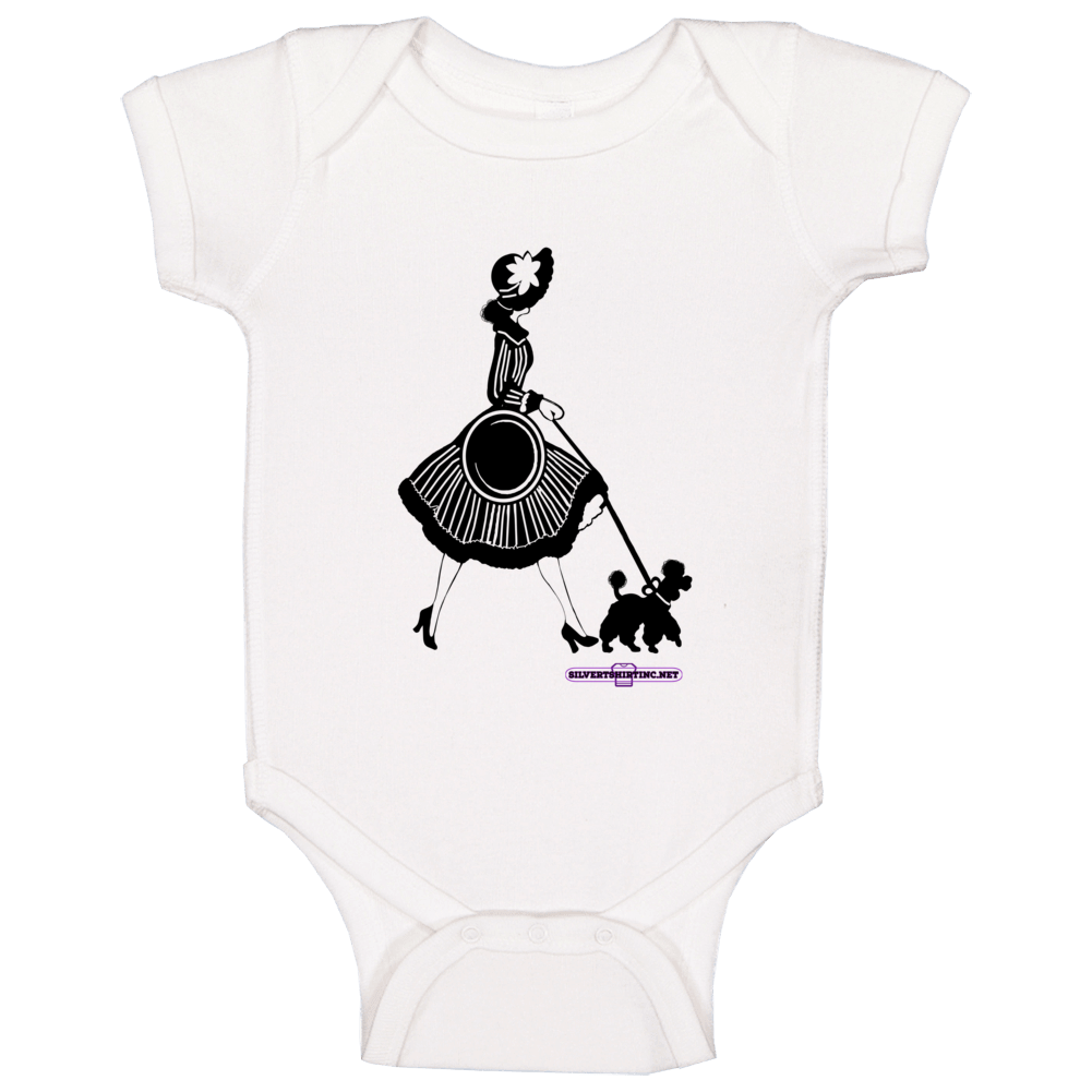 Glama Lady Walking Her Poodle In The Late Evening Hours Baby One Piece
