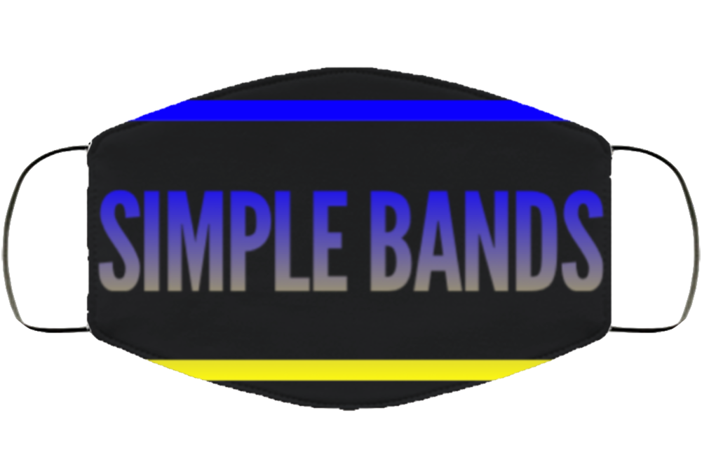 Simple Band Blue/yellow Facemask Face Mask Cover