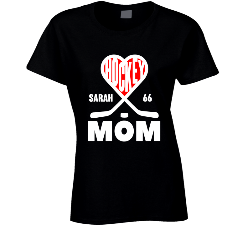Hockey Mom Heart Sticks Custom Name Number T Shirt
