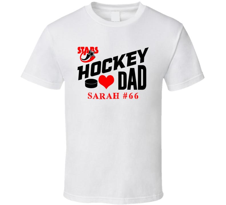 Hockey Dad Custom Name Number Stars T Shirt