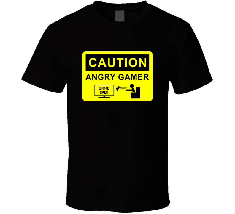Caution Angry Gamer Funny Video Game T Shirt