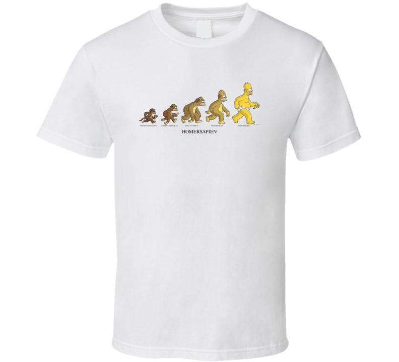 Simpsons Homersapien Evolution Home Simpson Funny TV Show T Shirt