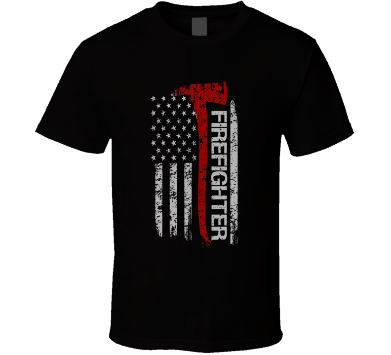 Firefighter USA Flag Patriotic T Shirt