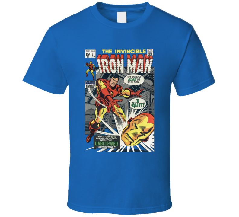 The Invincible Iron Man Comic Book Cover Marvel Geek T Shirt