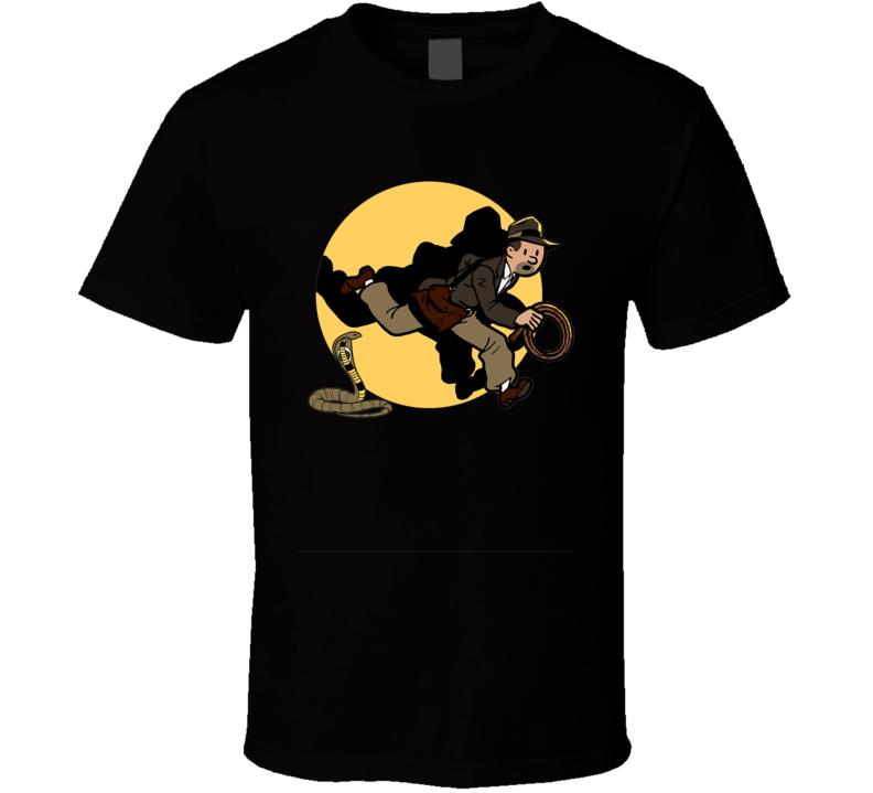 Adventures Of Tin Tin Indiana Jones Movie Parody Funny Geek T Shirt