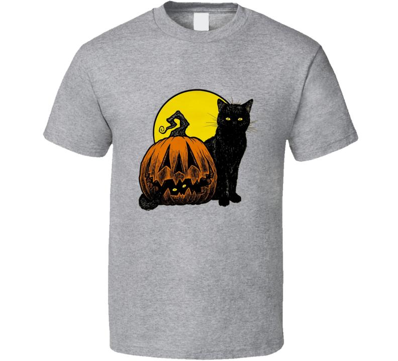 Black Cat Pumpkin Halloween T Shirt