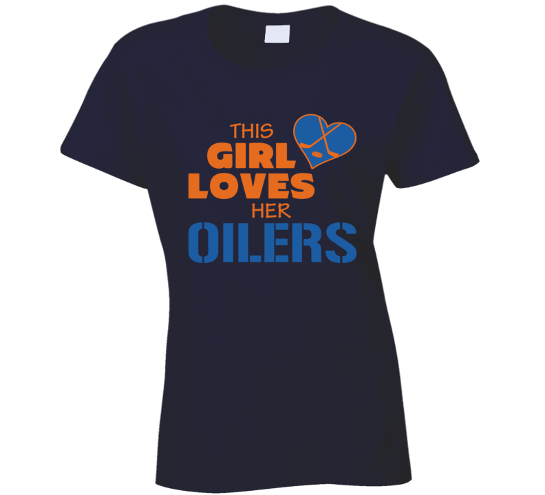 This Girl Loves Her Oilers Hockey Heart T Shirt