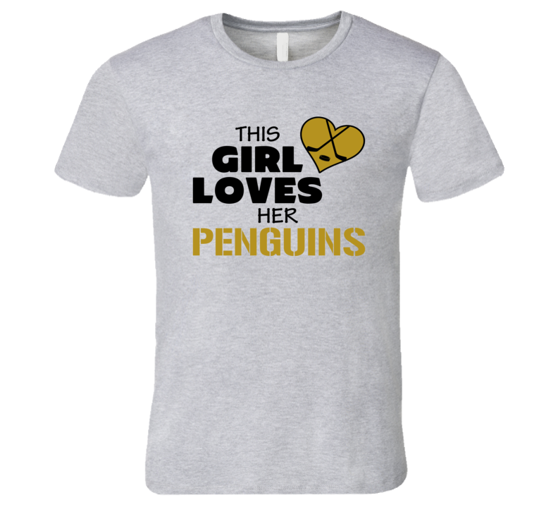 This Girl Loves Her Penguins Hockey Heart T Shirt