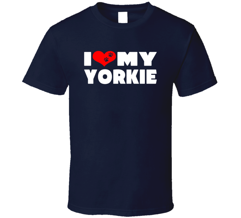 I Love My Yorkie Dog Paws Heart T Shirt